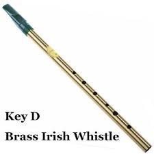 Brass <b>Irish Whistle</b> D key Ireland <b>Flute Feadog Tin whistle</b> Metal ...