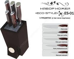 """<b>Набор</b> из 5 кухонных <b>ножей</b> + подставка (лапша) <b>TimA</b> """"<b>Eco</b>-<b>Style</b> ..."""