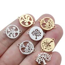 <b>10pcs</b>/<b>lot Mixed</b> stainless steel life Tree Metal Floating Charms ...