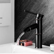 <b>Black Brass</b> Waterfall Bathroom Sink Faucet Vessel <b>Tall</b> Bamboo ...