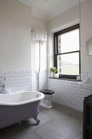white bathroom floor: house bathroom metro tiles black painted window art deco mirror roll top bathroom floor tiles greybathroom metrotileswhite