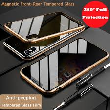 360° Protection <b>Magnetic</b> Metal Case+<b>Anti</b>-<b>peeping</b> Tempered ...