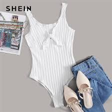 SHEIN Tie Front Lettuce Edge Rib knit <b>Bodysuit Women Summer</b> ...