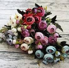 Искусственные <b>цветы розы</b> Н 6 филиалов Ретро чайная <b>роза</b> ...