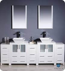 white double sink bathroom quot fresca torino fvn wh vsl modern double sink bathroom vanity w three side cabinets amp two vessel sinks white