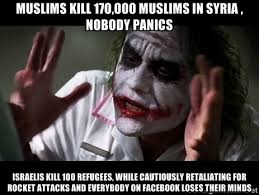 Muslims kill 170,000 muslims in syria , nobody panics Israelis ... via Relatably.com