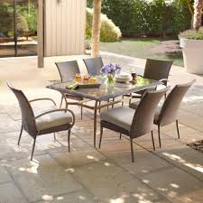 posada 7 piece patio dining set with gray cushions awesome home depot patio