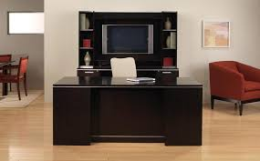 beautiful contemporary furnished office suite consisting of executive desk kneehole computer credenza storage multi black office desk office desk