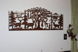 tree scene metal wall art: custom made deer and mountain scene with  majestic bucks large metal wall art country rustic