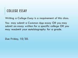 in this workshop  you will  organize your essay plans  amp  prompts    college essay writing a college essay is a requirement of this class  you   submit