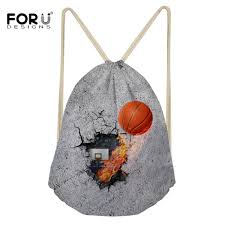 <b>FORUDESIGNS 3D Printing</b> Basket ball Drawstring Bag for Men ...