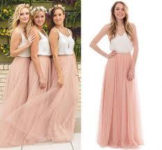 Blush Tulle País de dos tonos <b>Vestidos</b> largos para <b>dama</b> de honor ...