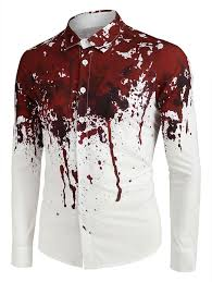 <b>Halloween Blood</b> Splatter Print Long Sleeve Button Up Shirt