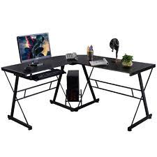 l shape computer desk pc wood laptop table workstation corner home office black black home office laptop