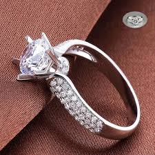 925 <b>Silver</b> Cut Wedding Sapphire Women White Elegant Ring ...