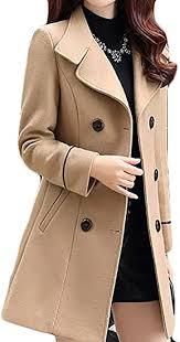 JWK <b>Women's</b> Double-Breasted <b>Slim</b> Solid Wool-Blend <b>Winter</b> Pea ...