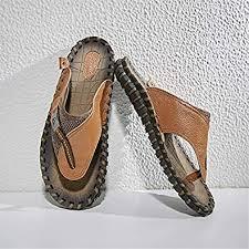 Gospt <b>Men</b> Leather Flip Flop <b>Sandals</b> with Wide Strap <b>Summer</b> ...