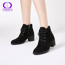 AIMEIGAO <b>New Spring Autumn Women</b> Ankle Boots Suede Leather ...