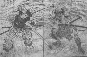 「宮本武蔵と佐々木小次郎が巌流島で決闘」の画像検索結果