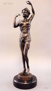 "Art Deco Semi Nude <b>Lady 18</b>"" <b>Bronze Statue</b> Ellis Signed - Sep 08 ..."