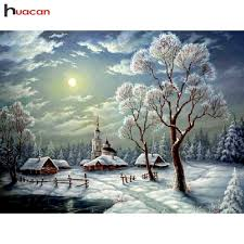 HUACAN 5D Diy <b>Diamond Painting Landscape Winter</b> Full Drill ...