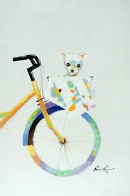 <b>Cute Small</b> Pet <b>Dog</b> Bicycle Basket 24X36 Tall <b>Oil</b> On Canvas ...