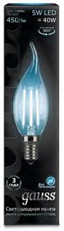 <b>Лампа Gauss LED</b> Filament <b>Candle</b> tailed E14 5W 4100K 1/10/50 ...