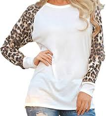 ARTFFEL Womens <b>Stylish Round Neck Long</b> Sleeve Leopard ...