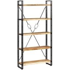 <b>5-Tier Bookcase</b> Solid Mango Wood and Steel 90x30x180 <b>cm</b> -