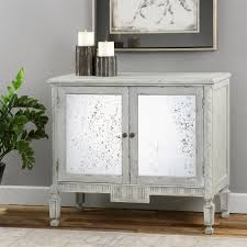 bellport coastal beach grey antique mirror console media cabinet kathy kuo home antiqued mirrored doors view full size