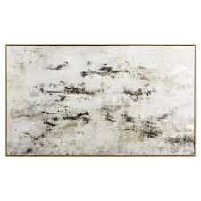 "White/Black/<b>Gold Abstract</b> Framed Canvas Wall Art, 28"" x 60"" 
