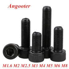 100pcs ISO7380 <b>M5</b> Black Steel Round Head Screws Hexagon ...