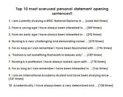 Personal statement     most overused opening sentences   Telegraph