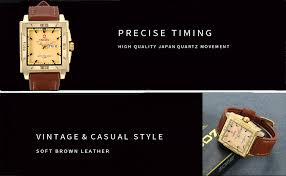 Men's Gold Large Square Face Japan Quartz Watch ... - Amazon.com