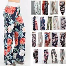 Women Casual Loose Boho Pants Floral Star Striped Print American ...