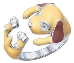 <b>SOKOLOV</b> Кольцо «<b>Собачка</b>» из серебра с эмалью и фианитами ...