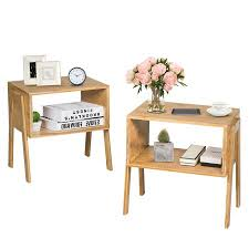 Costway <b>Set of 2 Bamboo</b> Nightstand Stackable Sofa Table Bedside ...
