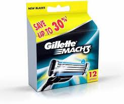 Gillette Mach 3 Manual <b>Shaving Razor Blades</b> (Cartridge) 12s <b>pack</b> ...