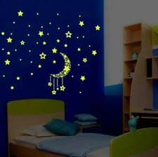 Sun, <b>Moon</b> & <b>Stars</b> Glow in the Dark Décor Wall Stickers Art for sale ...