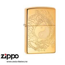 <b>Зажигалка</b> широкая Zippo Classic <b>Tiger and Dragon</b> Design High ...