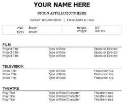 acting resume template no experience httpwwwresumecareerinfo resume format for actors audition resume format