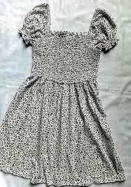 <b>Short Sleeve Summer</b> Dress. Size 8. Elasticated Top. White/<b>Black</b> ...
