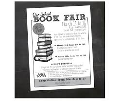 event flyer custom printable book fair school flyer pta flyer