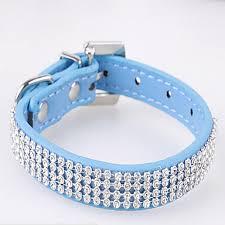 Cat <b>Dog</b> Collar Strobe / Flashing <b>Rhinestone PU Leather</b> Red Blue ...
