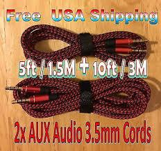 BUNDLE 3M 1.5M BLUE <b>3.5mm</b> BRAIDED AUXILIARY <b>Audio Cable</b> ...
