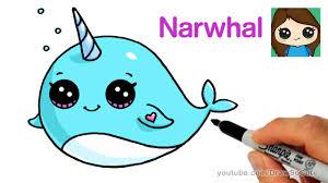 How to Draw a <b>Cartoon</b> Narwhal Unicorn Whale Easy - YouTube