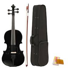<b>4/4 Full Size Acoustic</b> Violin Fiddle Black with Case Bow Rosin-in ...