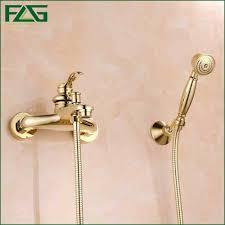 golden bathroom shower column faucet wall: flg free shipping bathroom bath wall mounted hand held single handle brass gold plated shower head kit shower faucet sets hs