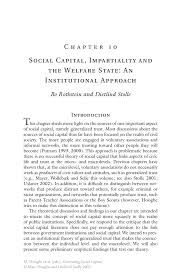 social capital impartiality and the welfare state an inside