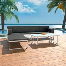 <b>4 Piece Garden Lounge</b> Set with Cushions Aluminium Black Sale ...